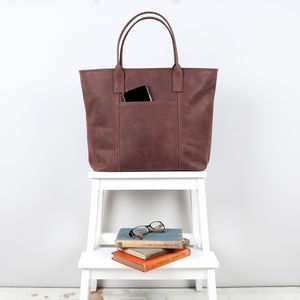 Warwick Leather Structured Slip Pocket Tote