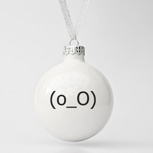 Modern Christmas Ornament With Confused Emoticon