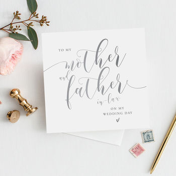 To My Mother And Father In Law Card | Silver Effect