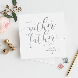 To My Mother And Father In Law Card | Silver Effect - wedding thank you gifts
