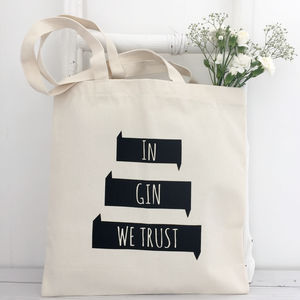 'Gin We Trust' Black Print Shopping Tote Bag - winter sale