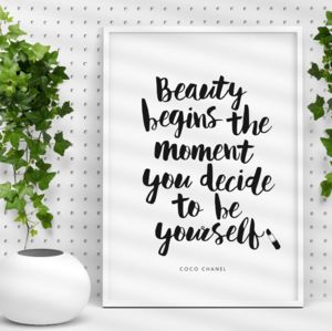 'Beauty Begins' Coco Chanel Typography Print