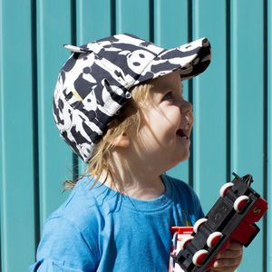 Children's UV Panda Print Baseball Hat With Neck Flap