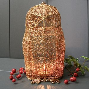 Gold Wire Owl Lantern - tableware
