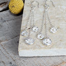 Long Trio Of Daisies Drop Earrings