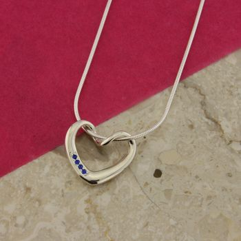 Twisted Heart Pendant With Sapphires