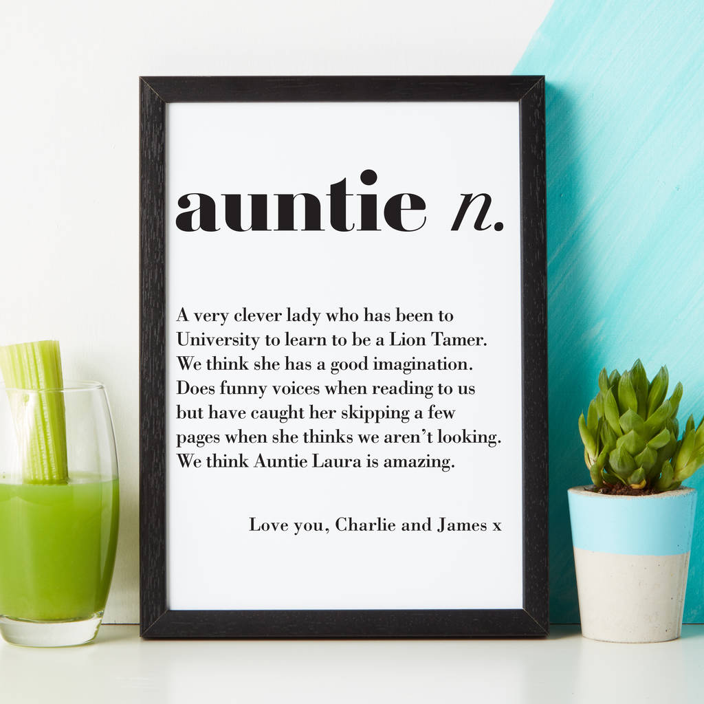 Personalised Auntie Uncle Dictionary Print By Coconutgrass