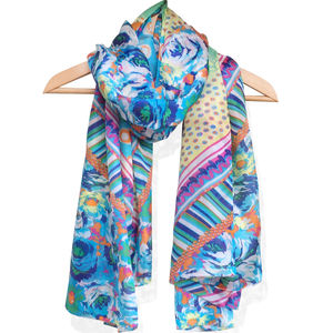 Large 'Pink Lime' Pure Silk Scarf - women's accessories sale