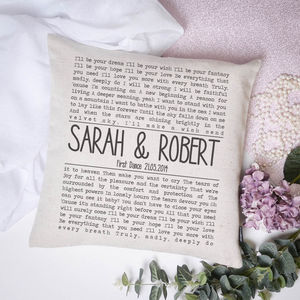 Personalised Song Lyrics Cushion Cover - personalised cushions