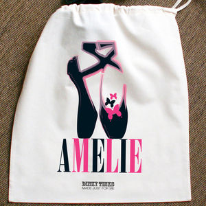 Personalised Black Ballet Shoes Bag Or Pe Kit Bag - bags, purses & wallets