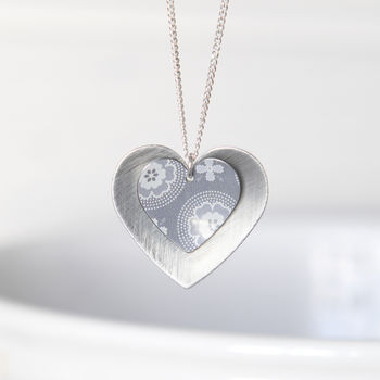 Grey Geometric Print Silver Double Heart Pendant