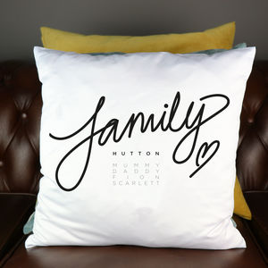 Family Personalised Cushion Cover
