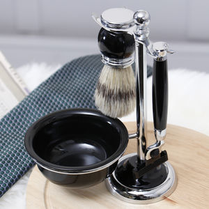 Luxury Mach Three Shaving Set With Brush And Bowl - men's grooming & toiletries