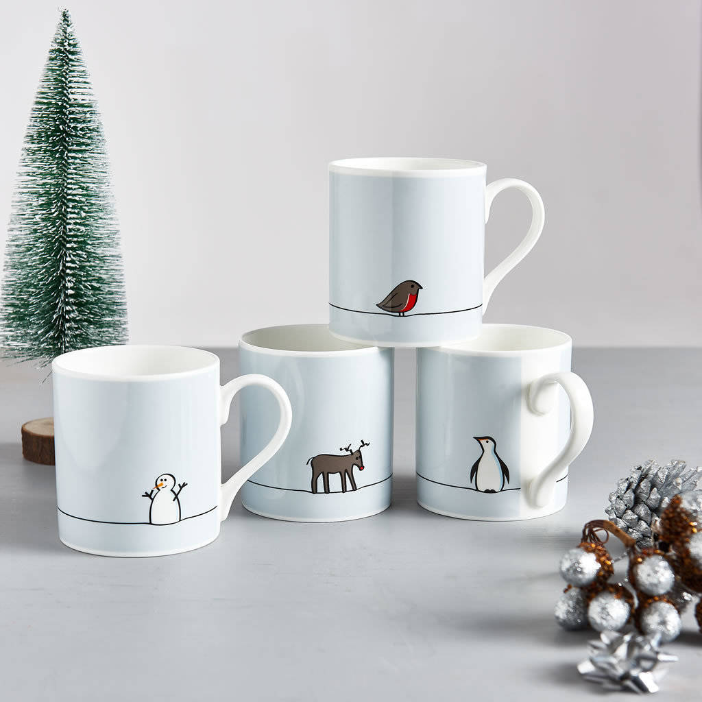 Portland Mug Set Of 4: Winter Collection Mugs, Set Of Four By Jin Designs