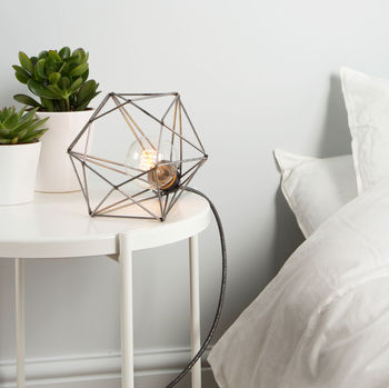 Raw Steel And Glamour Grey Diamond Cage Table Lamp