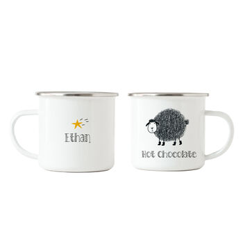 Wooly Sheep Personalised Hot Chocolate Enamel Mug