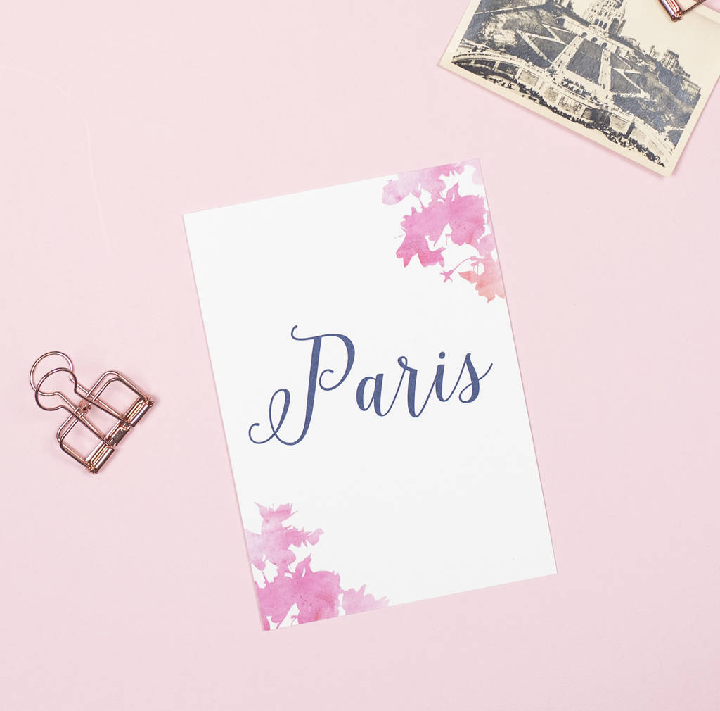 Pink and navy blossom table name cards by project pretty for Table 52 cards