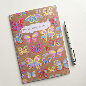 A5 Butterfly Notebook With 36 Blank Pages - summer sale