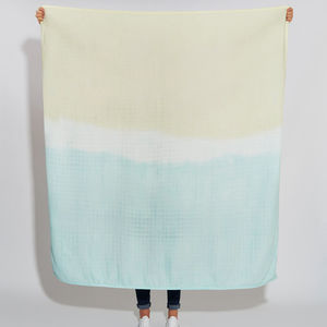 Mint And Yellow Dip Dye Scarf Blanket
