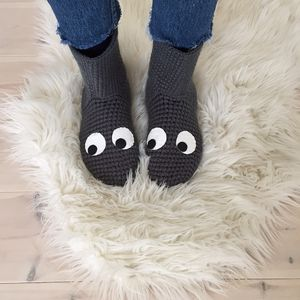 Handmade Crochet Slipper Socks With Googly Eyes