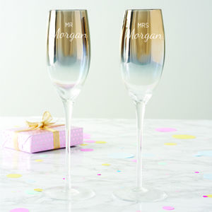 Personalised 'Mr And Mrs' Metallic Champagne Flute Set - styling your day sale
