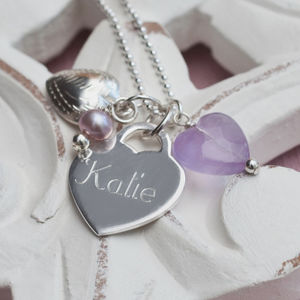Personalised Sterling Silver Lilac Heart Necklace - christening jewellery