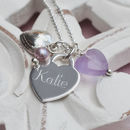 Personalised Sterling Silver Lilac Heart Necklace