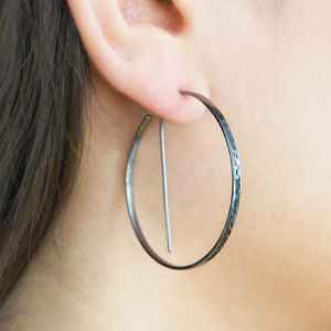 Black Circular Geometric Hoop Earrings - earrings