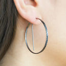 Black Circular Geometric Hoop Earrings