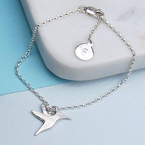 Personalised Silver Hummingbird Bracelet - children's jewellery