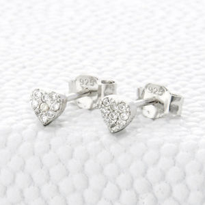 Sterling Silver And Crystal Heart Stud Earrings