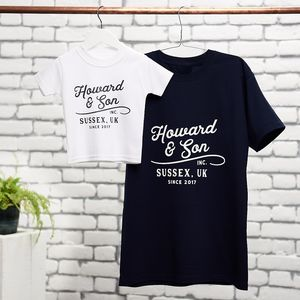Personalised Vintage Father And Child T Shirt Set - baby & child sale