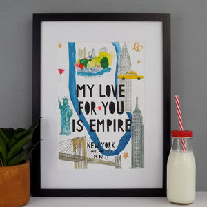 Personalised New York Landmark Papercut Print