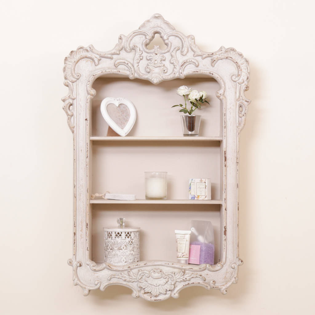 Ornate French Neo Classical Wall Mount Shelf Cabinet By