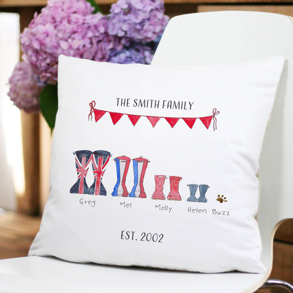 personalised welly boot family cushion by this is nessie ... b7f335c8c57a