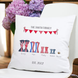 Personalised Welly Boot Family Cushion - gifts for her