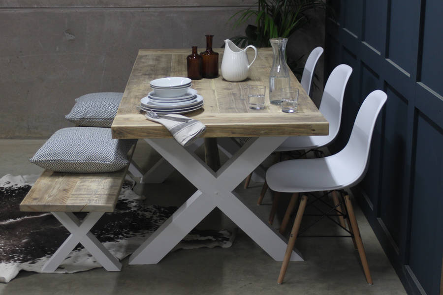 King S Cross Reclaimed Wood Dining Table With X Frame By Rust