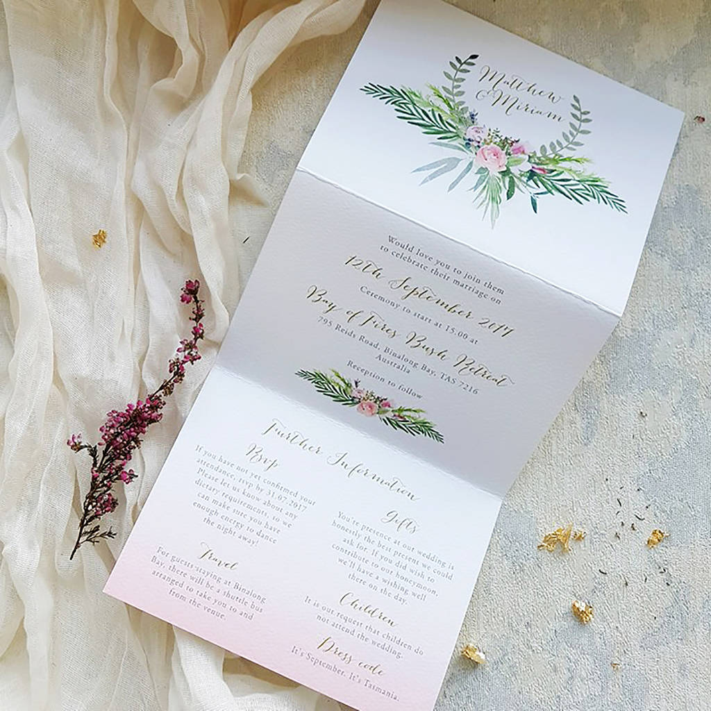 tri fold wedding invitations blush foliage tri fold wedding invitation by 8069