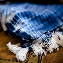 Blue Tie And Dye Scarf With Statement Tassels
