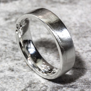 Personalised Sterling Silver 6mm Flat Sand Cast Ring