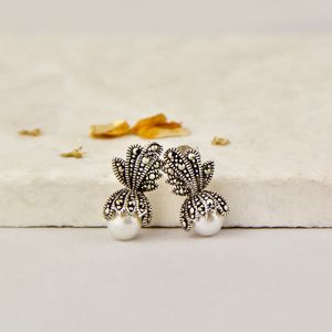 Freshwater Pearl And Marcasite Crown Stud Earrings - earrings