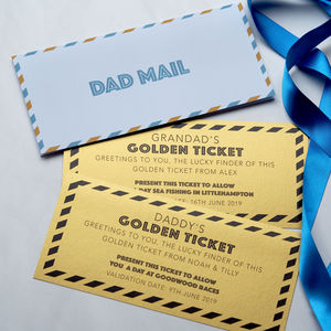 'Dad Mail' Card With Personalised Golden Ticket