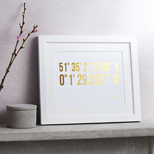 Personalised Coordinates Gold Foil Print - 40th birthday gifts