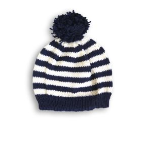 Hand Knitted Striped Beanie Hat In Navy And Cream