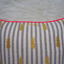 Embroidered Metallic Pineapple Striped Cushion