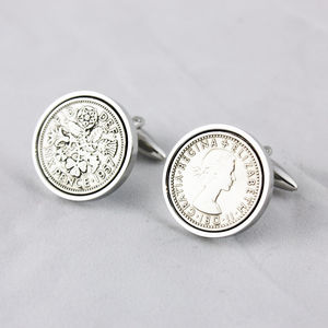 Sixpence 1957 60th Birthday Coin Cufflinks - accessories