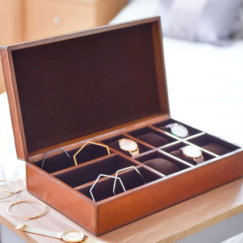 Ladies Personalised Leather Watch And Jewellery Box