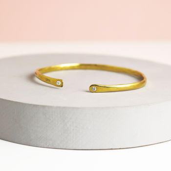 Gold Slender Torque Bangle With White Sapphires