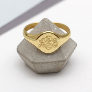 Mens Gold Monogram Oval Signet Ring - gifts for him