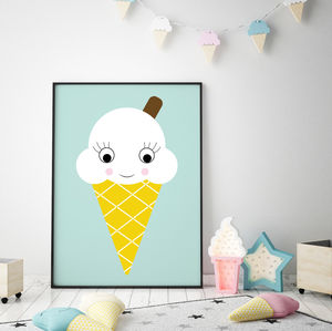 Ice Cream Print Nursery Art